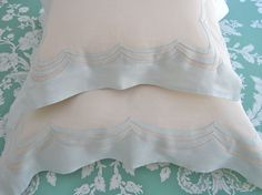JuliaB Versailles Boudoir and Euro Shams in Ecru Linen with Light Mint Linen applique