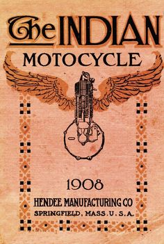 "Indian originally began manufacturing under the corporate banner of the Hendee Manufacturing Company, which was later reincorporated as the Indian Motocycle Company (an apparent nod to the European style of ""Moto"" motorcycle company names — i.e. Moto-Guzzi), early Indians were inspired by Hedstrom's work with ""pacing"" bicycles"