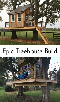 This instructable is designed to help you build a tree house (almost) all for its . This instructable is designed to help you build a tree house (almost) all for its … Beautiful Tree Houses, Cool Tree Houses, Pallet Tree Houses, Building A Treehouse, Tree House Plans, Tree House Designs, Play Houses, Power Tools, 6 Months