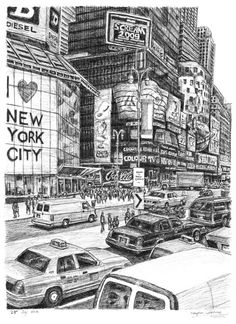 Times Square (New York City) - drawings and paintings by Stephen Wiltshire MBE - Originals Nyc Drawing, New York Drawing, Square Drawing, Square Art, Stephen Wiltshire, New York City, Autistic Artist, Times Square New York, City Sketch