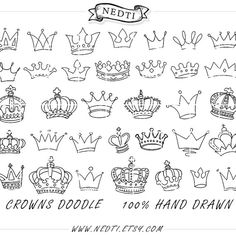 Crowns Doodle Hand Drawn Vector, Prince Crown Digital Clipart Vectors…
