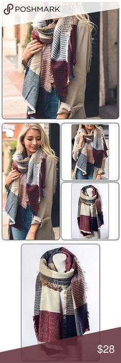 """Gorgeous Plaid Waffle Knit Blanket Scarf Look gorgeous & stay warm this season in this beautiful plaid waffle knit blanket scarf. Makes a great gift. Burgundy, navy, tan & cream 100% acrylic with frayed hem. 79"""" x 28"""" Accessories Scarves & Wraps"""