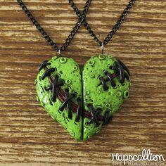 Zombie Heart Best Friends Necklace Set by rapscalliondesign, $30.00