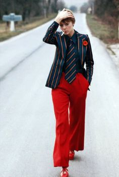 Frank Horvat 1972 ARMENONVILLE PRET-A-PORTE VOGUE FRANCE | vintage 1970s red and blue striped suit + pants style | vintage 70s fashion style