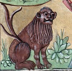 Angry lion. Book of hours, Picardy 15th century (Abbeville, Bibliothèque municipale, ms. 16, fol. 34v)