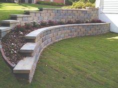 Steep Backyard, Sloped Backyard Landscaping, Front House Landscaping, Small Backyard Pools, Sloping Backyard, Landscaping Ideas, Retaining Wall Design, Backyard Retaining Walls, Retaining Wall With Steps