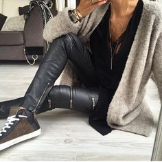 concept+leather leggings+layers+under