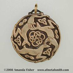 Bronze Triple Stag Triskele Pendant- a Celtic design