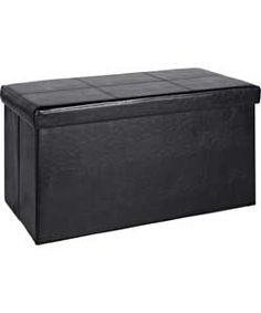 Large Leather Effect Ottoman with Stitching Detail - Black.