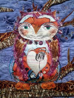Art Quilt  Owl Be Yours  Mixed Media Wall by KimsCraftyApple, $450.00