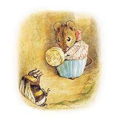 Mrs. Tittlemouse confronts a large bumblebee (Beatrix Potter)