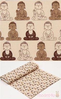 cream dobby fabric with Buddha pattern, Material: cotton, Fabric Type: strong dobby fabric, Pattern Repeat: ca. Dobby Fabric, Echino, Modes4u, Japanese Fabric, Repeat, Buddha, Cotton Fabric, Kawaii