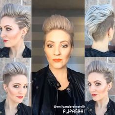 It's been awhile since I posted a #shorthairtutorialmonday. Here's an easy way to do fake cornrows, paired with a big pompadour mohawk. Take two sections instead of three and add hair from behind just like a braid. Push the Bobby pin up into the twist. The pompadour was styled with @kenraprofessional Texturizing Mist and a @denmanbrush 9row. Then finished with the #kenraprofessional Dry Texture spray, Texturizing Taffy and the Volume 25 Hairspray. Happy Monday, let's get this week started…