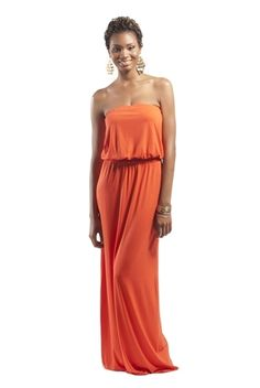 Isabella Strapless Maxi Dress Tangerine | HEIGHT GODDESS