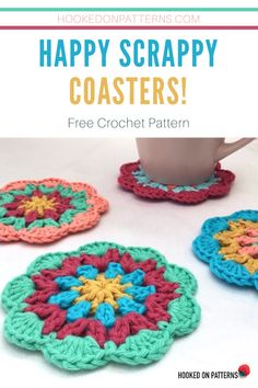 Free Mandala Coasters Crochet Pattern by Hooked On Patterns. A free, easy, beginner friendly, crochet pattern for happy scrappy mandala style coasters! Crochet Coaster Pattern, Crochet Mandala Pattern, Doily Patterns, Easy Crochet Patterns, Knitting Patterns, Mode Crochet, Crochet Home, Crochet Gifts, Crochet Christmas Decorations