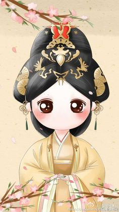 The Legend of Mi Yue 《芈月传》Chibis + Illustrations Cartoon Girl Images, Girl Cartoon, Cartoon Art, Geisha Drawing, Geisha Art, Pretty Art, Cute Art, Anime Chibi, Kawaii Anime