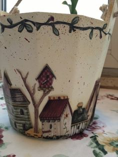 . Country Paintings, Clay Pots, Decoupage, Diy And Crafts, Planter Pots, Woods, Handmade, Bricolage, New Ideas