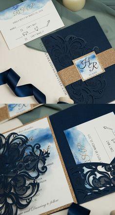 Beautiful regal navy blue invitation design Blue Regality