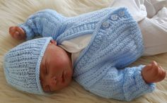 Baby Knitting Pattern Boys or Reborn Dolls - Sweater Set -  Instant Download PDF - Cardigan & Hat - Easy Knit Design