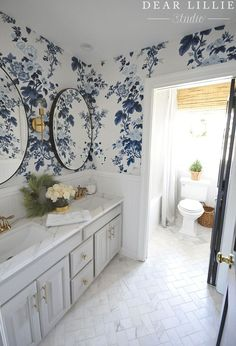 Need an extra long shower curtain? We used two regular curtain panels from HomeGoods in this fun wallpapered blue and white bathroom! White Bathroom, Small Bathroom, Blue Bathrooms, Dyi Bathroom, Chic Bathrooms, Bathroom Vanities, Style At Home, Long Shower Curtains, Dear Lillie