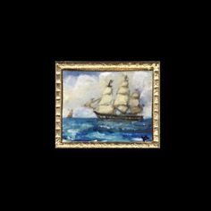 A miniature seascape depicting a tall ship in full sail. Seascape - suitable for a or scale Dolls House setting Full Sail, Miniature Paintings, Thing 1, Frame Sizes, Tall Ships, Wooden Frames, Dollhouse Miniatures, Sailing, Oriental
