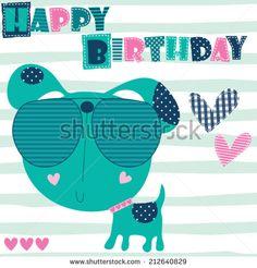 happy birthday dog vector illustration - stock vector