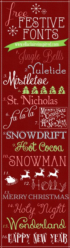 Free Festive Holiday Christmas Fonts!