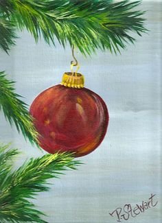 9x12 Christmas Tree Red Ornament Original Acrylic Canvas Xmas SFA Penny StewArt #Realism http://www.craftylady.com, www.pennyleestewart.com, www.pennystewart.net