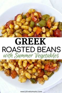 Yummy Greek roasted white beans with summer vegetables. Roasted until soft and tender. #greek #mediterranean #beans #diet #recipe #easy Side Dish Recipes, Veggie Recipes, Whole Food Recipes, Vegetarian Recipes, Cooking Recipes, Healthy Recipes, Vegan Vegetarian, Hamburger Recipes, Soup Recipes