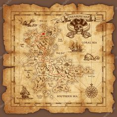 ベクトルの海賊の宝の地図 — ストックイラストレーション