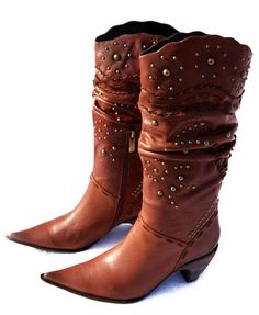 Brown leather boots with round studs