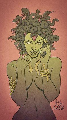 Digital illustration of Medusa Medusa Painting, Medusa Drawing, Medusa Art, Medusa Tattoo, Greek Mythology Tattoos, Roman Mythology, Art Sketches, Art Drawings, Snake Art