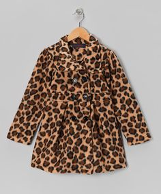 Take a look at this Leopard Fleece Swing Coat - Girls on #zulily today!
