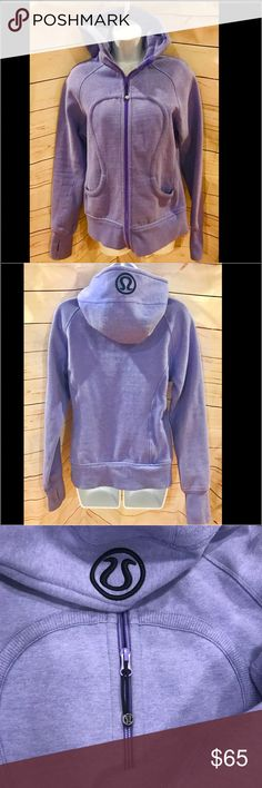 "Lululemon light purple scuba hoodie Lululemon light purple scuba hoodie.  Beautiful light lavender color with black lulu symbol on hood.  EUC - minor discoloration inside wrist area, but no holes, rips, tears or stains anywhere else.   Thumb holes and full zip up.  25"" long, 19"" across chest.   Item #636 lululemon athletica Tops Sweatshirts & Hoodies"