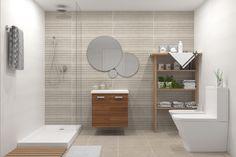 Propuesta de baño con tres porcelánicos combinados y mobiliario en madera. Estará disponible para varias promociones de obra nueva. Alcove, Bathtub, Bathroom, Imagines, Color, Flooring, Proposal, Interiors, Kitchens