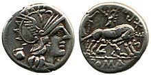Moneda del any 140aC, que representa Fáustulo ,la lloba ,els nadons i la figuera.