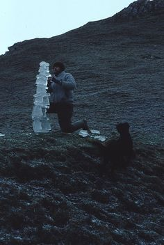 pleoros:  Andy Goldsworthy - Balanced ice columnHelbeck Craggs, Cumbria5 January, 1985.