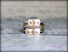 Design Your Own Hand Stamped Stacking Name Ring by mamamiatina