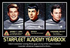 Star Trek: Starfleet Academy Yearbook featuring Kirk, Spock, and McCoy. Featuring William Shatner's and Leonard Nimoy's high school pictures and DeForrest Kelley's 1947 studio portrait.