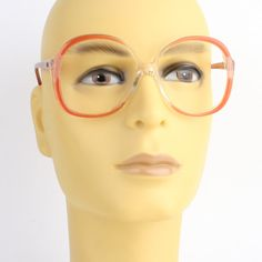 c26fcfebe32 pink red oversized vintage eyeglasses OWP transparent eye glasses frame -  large 80s eyeglass mauve eyewear
