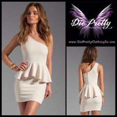 One-shoulder Peplum Dress in white  Item No : DP2927  Price : $44.99  Size M & L only available.   To purchase today, please email us or inbox us & include the following:  1) Full name  2) Email address  3) Mailing address  4) Phone number  5) Item number(s) OR picture(s) AND size(s) of the item(s) you wish to order  6) Form of payment (etransfer or PayPal accepted. www.paypal.com)  Email to: dieprettyclothing@gmail.com  ~ Die Pretty Clothing Co. www.dieprettyclothingco.com