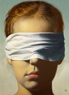 """Destiny"" - Yaroslav Kurbanov (Russian, b. 1968), oil on canvas {figurative art female head blindfolded young woman face portrait painting #loveart} kurbanov.de"