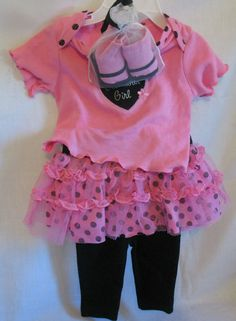 Baby Girl Outfit 3-6 Months Top Skirt Tutu Leggings Pink/Black All Season Cotton #GlamourGirl