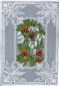parchment craft Christmas card Snowdrops and holly berries design greenery Card Making Machine, Vellum Crafts, Parchment Design, Acetate Cards, Christmas Paper Crafts, Christmas Ornaments, Parchment Cards, Butterfly Template, Holly Berries