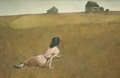 'Christina's World', painted by Andrew Wyeth in 1948, is of a rural woman suffering from polio (or some other muscular debility). The artist saw her crawling through a field while he was at his summer house. It is on permanent display at the MoMA.