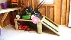 How to video tutorial to create storage for your lawn mower that also gives you storage underneath for hedge trimmers, chainsaws, gas cans and other yard tools!
