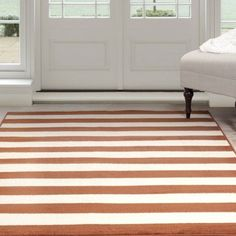 Somerset Home Dark Amber Stripe Area Rug, Amber and Tan, Brown