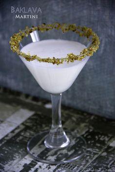 Baklava Martini made with hazelnut liqueur,honey liqueur and orange blossom water ...wow