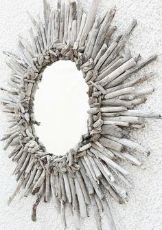 driftwood starburst mirror. Fun use for drift wood!