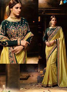 Yellow and green banglori silk designer saree